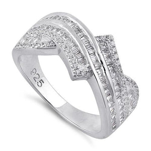 Sterling Silver Exotic Twist Clear CZ Ring