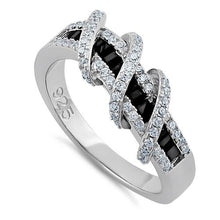 Load image into Gallery viewer, Sterling Silver Exotic Twisted Black & Clear CZ Ring