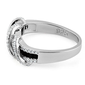 Sterling Silver Exotic Twisted Black & Clear CZ Ring