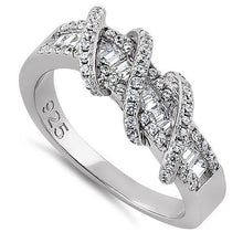 Load image into Gallery viewer, Sterling Silver Exotic Twisted CZ Ring