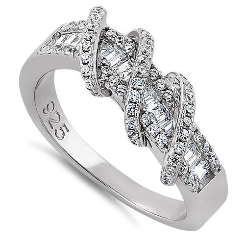 Sterling Silver Exotic Twisted CZ Ring