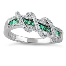 Load image into Gallery viewer, Sterling Silver Exotic Twisted Green & Clear CZ Ring