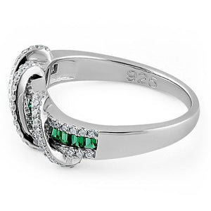 Sterling Silver Exotic Twisted Green & Clear CZ Ring