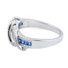 Load image into Gallery viewer, Sterling Silver Exotic Twisted Sapphire CZ Ring