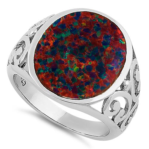 Sterling Silver Extravagant Black Lab Opal Ring