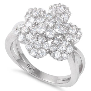 Sterling Silver Extravagant Flower CZ Ring