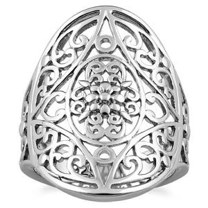 Sterling Silver Extravagant Flower Vines Ring