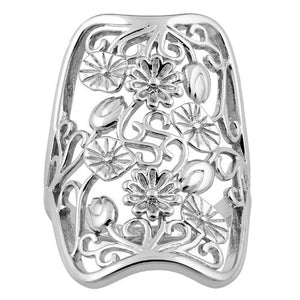 Sterling Silver Extravagant Flowers Ring