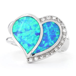 Sterling Silver Extravagant Heart Lab Opal Ring