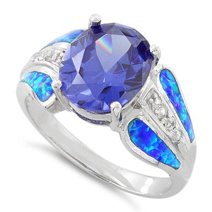 Sterling Silver Extravagant Lab Opal Tanzanite CZ Ring