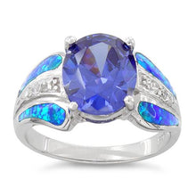 Load image into Gallery viewer, Sterling Silver Extravagant Lab Opal Tanzanite CZ Ring