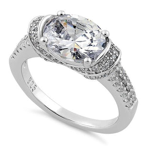 Sterling Silver Extravagant Oval CZ Ring