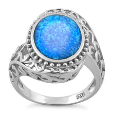 Load image into Gallery viewer, Sterling Silver Extravagant Oval Lab Opal Ring