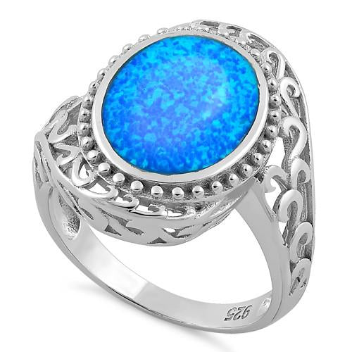 Sterling Silver Extravagant Oval Lab Opal Ring
