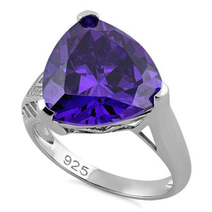 Sterling Silver Extravagant Trillion Amethyst CZ Ring
