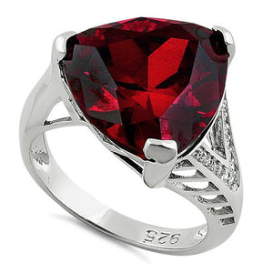 Sterling Silver Extravagant Trillion Dark Garnet CZ Ring