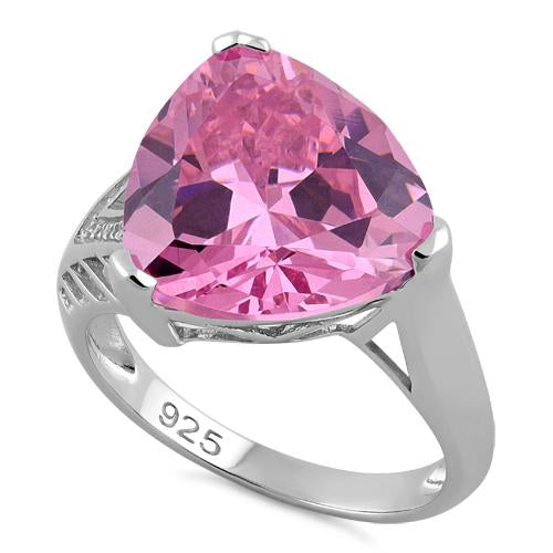 Sterling Silver Extravagant Trillion Pink CZ Ring