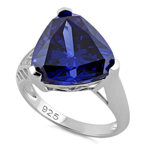 Sterling Silver Extravagant Trillion Tanzanite CZ Ring