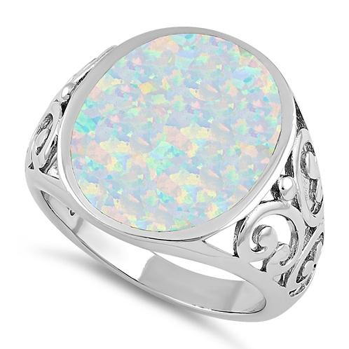 Sterling Silver Extravagant White Lab Opal Ring