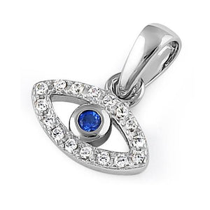 Sterling Silver Eye Blue Spinel CZ Pendant
