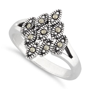 Sterling Silver Eye Marquise Marcasite Ring