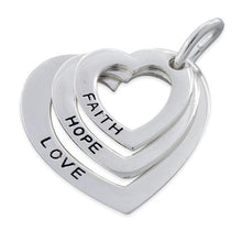 Load image into Gallery viewer, Sterling Silver Faith-Hope-Love Heart Pendant