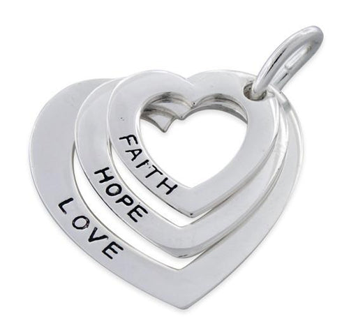 Sterling Silver Faith-Hope-Love Heart Pendant