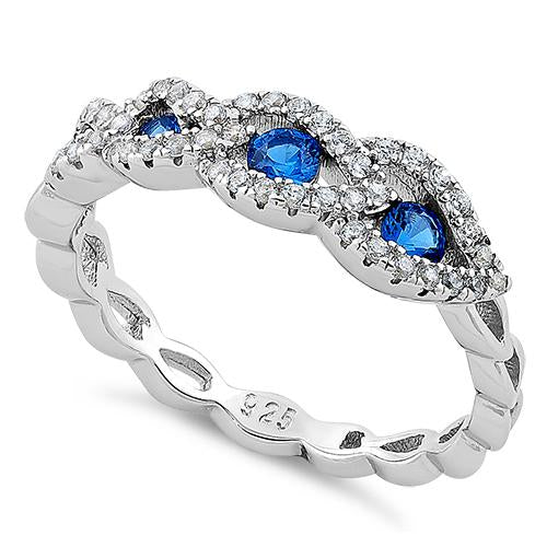Sterling Silver Falcate Blue Spinel CZ Ring