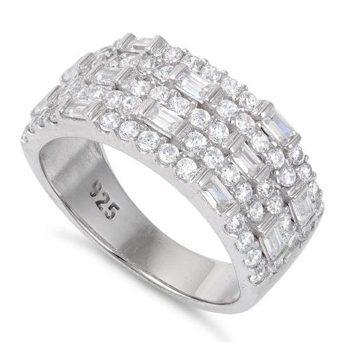 Sterling Silver False Stacking CZ Pave Ring