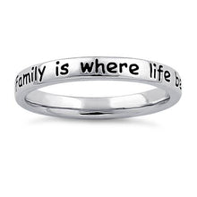 "Load image into Gallery viewer, Sterling Silver ""Family is where life begins & love never ends"" Ring"