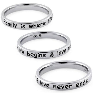 "Sterling Silver ""Family is where life begins & love never ends"" Ring"