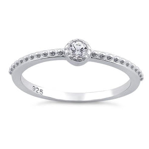 Sterling Silver Fancy Round Cut Clear CZ Ring