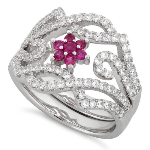Sterling Silver Fancy Ruby Flower Removable CZ Ring