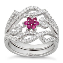 Load image into Gallery viewer, Sterling Silver Fancy Ruby Flower Removable CZ Ring