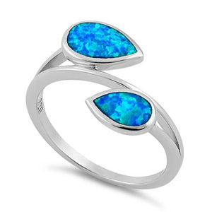 Sterling Silver Feather Blue Lab Opal Ring