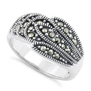 Sterling Silver Feather Marcasite Ring