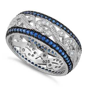 Sterling Silver Filigree Blue Spinel CZ Black Plating Ring