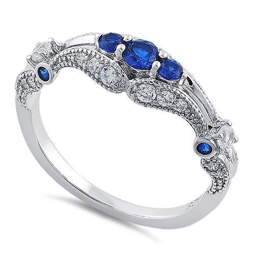 Sterling Silver Filigree Blue Spinel CZ Ring