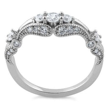Load image into Gallery viewer, Sterling Silver Filigree Clear CZ Ring