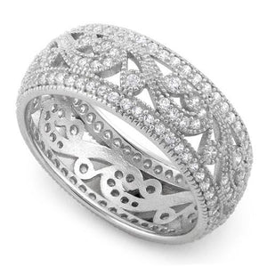 Sterling Silver Filigree CZ Ring