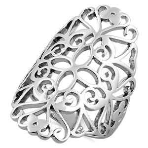 Sterling Silver Filigree Floral Ring
