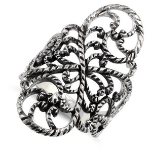 Sterling Silver Filigree Floral Rope Ring