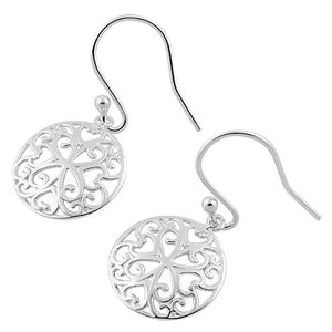 Sterling Silver Filigree Heart Dangle Hook Earrings
