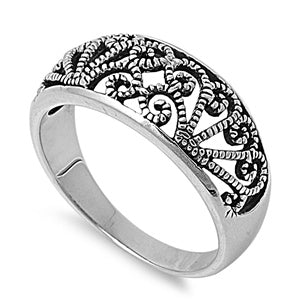 Sterling Silver Filigree Rope Swirl Ring