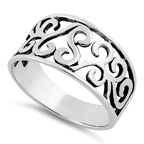 Sterling Silver Filigree Swirl Ring