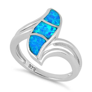 Sterling Silver Fire Shape Blue Lab Opal Ring