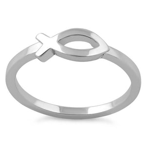 Sterling Silver Fish Symbol Ring