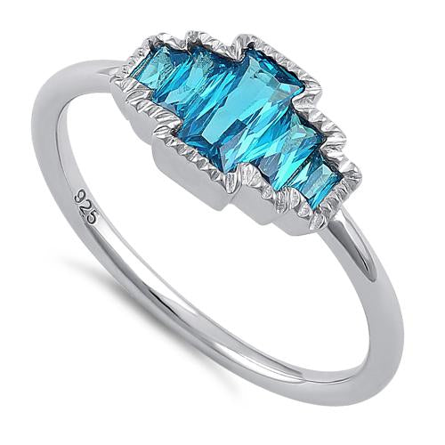 Sterling Silver Five Radiant Cut Blue Topaz CZ Ring