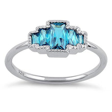 Load image into Gallery viewer, Sterling Silver Five Radiant Cut Blue Topaz CZ Ring