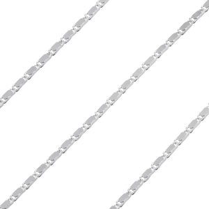 Sterling Silver Flat Chain Valentino Ovale 1.3mm x 3.2mm (sold by the foot)